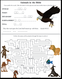 Animals in the Bible Printable Games