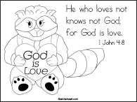 Coloring Page for I John 4:8