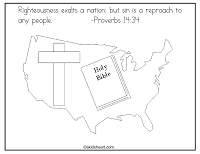 A Bible verse coloring page for Proverbs 14:34