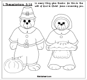 Printable Coloring Page of Thanksgiving Pilgrim Bears