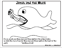 A coloring page of Jonah and the whale