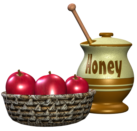 A large image of a jar of honey and a basket of apples
