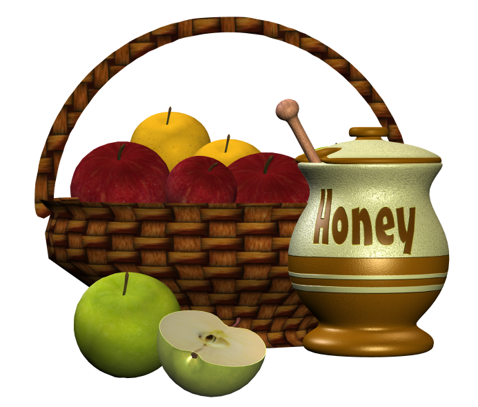 A large basket of mixed apples and a dipping jar of honey